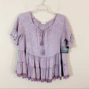 Altar'd state • Purple Boho Peasant Top Size Small